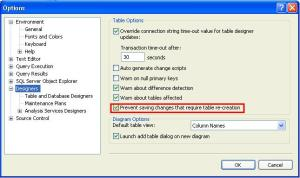 Sql Server Hack-Save Changes